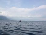 einsamer Fischer auf dem See
