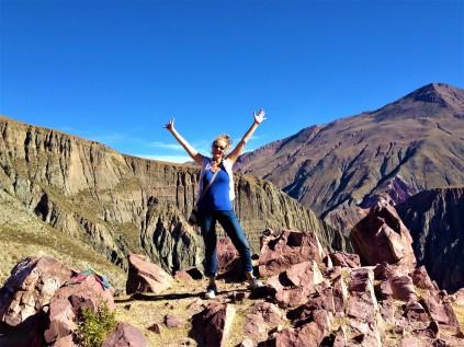 "der steile Aufstieg zum ""Mirador de los Cóndores"" ist geschafft!"